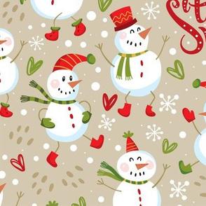 Festive Snowmen-Large-Tan/Red