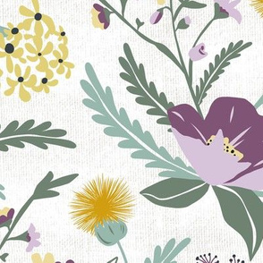 Poppy Meadow - White Purple Floral Large Scale