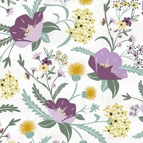 Poppy Meadow - White Purple Floral Regular Scale