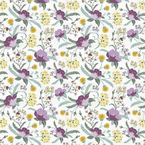 Poppy Meadow - White Purple Floral Small Scale