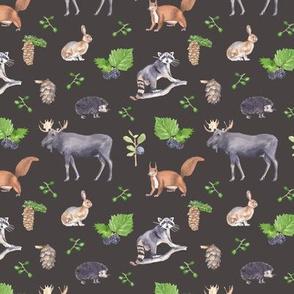 Woodland Animals Dark