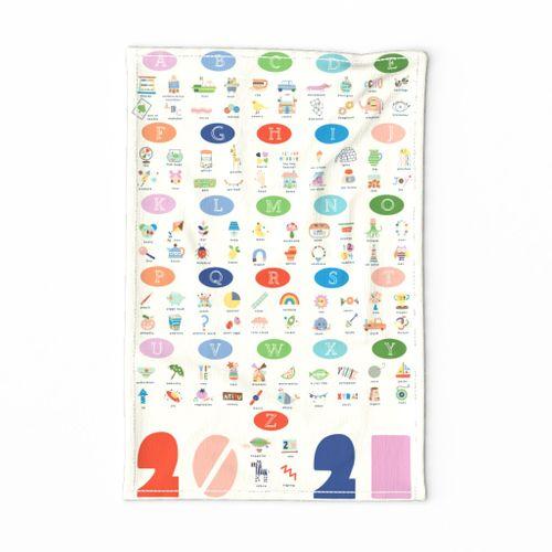 2021 alphabet tea towel