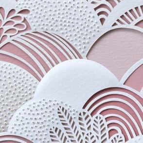 Paper Garden Mauve- Dusty Rose Nursery- Baby Girl- Large Scale- - Jumbo Scale Botanical Wallpaper