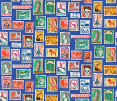 Large scale Postage Stamps of the world, royal blue