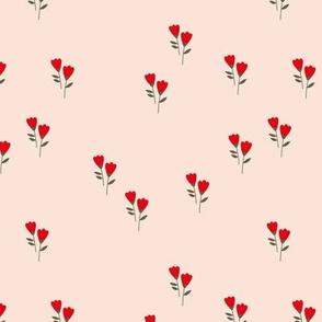 Sweet tulip flowers spring summer garden botanical Scandinavian minimalist design nursery beige red green Christmas