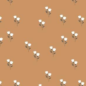Sweet tulip flowers spring summer garden botanical Scandinavian minimalist design nursery soft caramel brown white