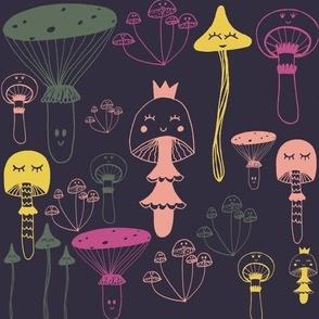 Mushroom girls navy background