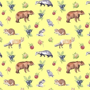 Woodland Animals on Yellow