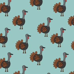 Little quirky turkey thanksgiving holiday icon animal design kids cool blue brown