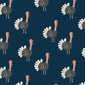 Little quirky turkey thanksgiving dinner holiday icon animal design kids navy blue brown