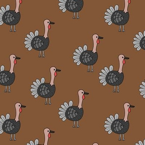 Little quirky turkey thanksgiving dinner holiday icon animal design kids russet copper brown