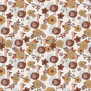 Little thanksgiving turkey flowers garden autumn leaves design ochre brown rust