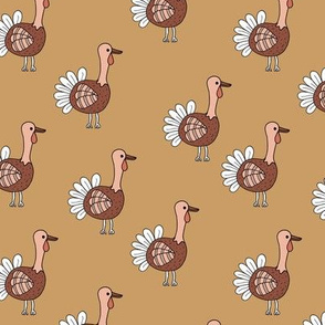 Little quirky turkey thanksgiving dinner holiday icon animal design kids ochre yellow russet brown neutral