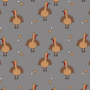 Quirky turkey thanksgiving dinner meat holiday icon animal design kids gray brown neutral
