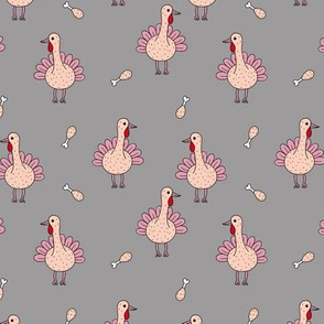Quirky turkey thanksgiving dinner meat holiday icon animal design kids gray pink girls