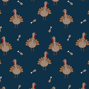 Quirky turkey thanksgiving dinner meat holiday icon animal design kids navy blue