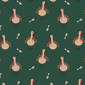 Quirky turkey thanksgiving dinner meat holiday icon animal design kids forest green