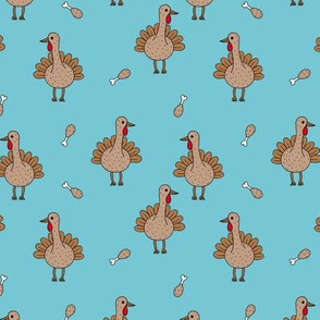 Quirky turkey thanksgiving dinner meat holiday icon animal design kids blue