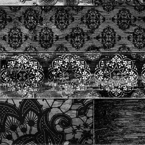 Vintage Wood Tiles Random Black Grey LARGE Horizontal