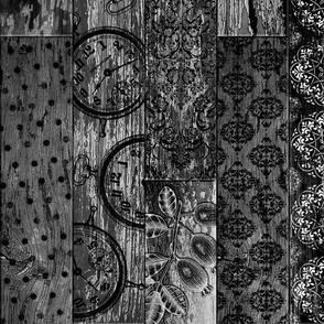 Vintage Wood Random Tiles Black Grey