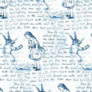 Alice in Wonderland Manuscript Blue Writing