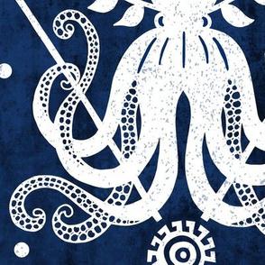 Mythos - Nautical Octopus Damask Blue Jumbo Scale