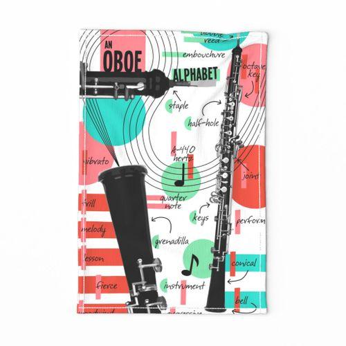 An Oboe Alphabet Tea Towel