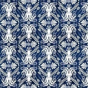 Mythos - Nautical Octopus Damask Blue Small Scale