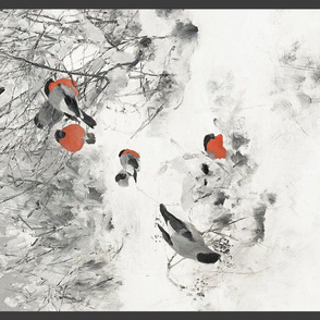Winter birds tea towel // Bruno Liljefors Winter landscape with bullfinches