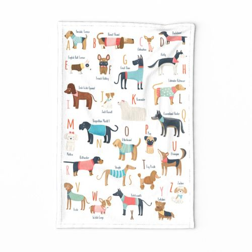 Tea towel ABC dog breeds with clothes