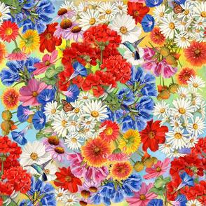 Bright Wildflowers and Hummingbirds