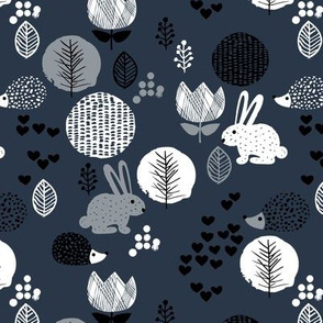 Cute winter woodland garden animals love girls hedgehog bunny garden easter design navy blue gray white