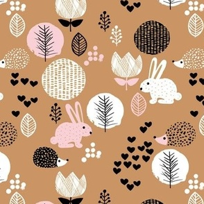 Cute winter woodland garden animals love girls hedgehog bunny garden easter design caramel brown pink