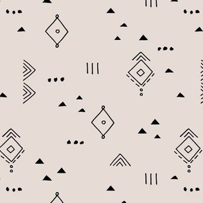 Messy tribal minimal mudcloth boho triangles and aztec details marroccan rug inspired design neutral nursery beige sand