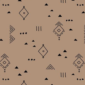 Messy tribal minimal mudcloth boho triangles and aztec details marroccan rug inspired design neutral nursery coffee mohka brown