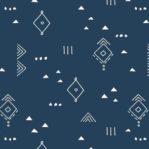 Messy tribal minimal mudcloth boho triangles and aztec details marroccan rug inspired design neutral nursery navy blue white