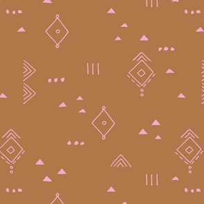 Messy tribal minimal mudcloth boho triangles and aztec details marroccan rug inspired design neutral nursery pink copper rust brown