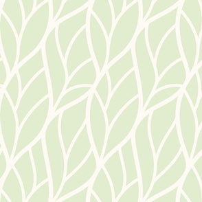 Abstract leaves light green off-white