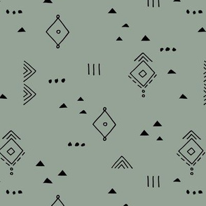 Messy tribal minimal mudcloth boho triangles and aztec details marroccan rug inspired design neutral nursery sage green
