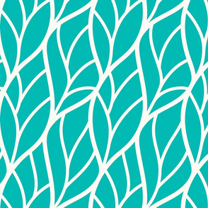 Abstract leaves teal off-white