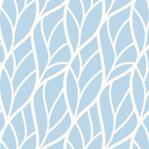 Abstract leaves blue off-white