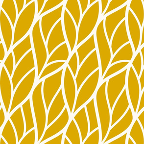 Abstract leaves gold yellow off-white