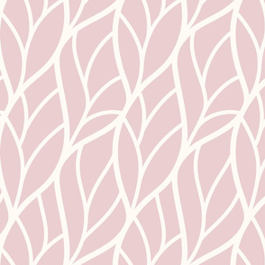 Abstract leaves dusky pink off-white