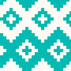 Boho geometric pattern teal off-white large scale