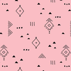 Messy tribal minimal mudcloth boho triangles and aztec details marroccan rug inspired design neutral nursery warm pink black girls