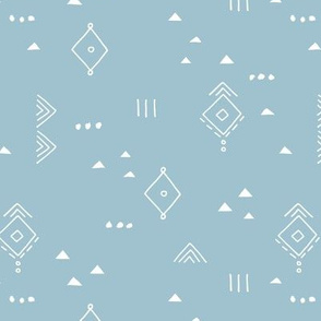Messy tribal minimal mudcloth boho triangles and aztec details marroccan rug inspired design neutral nursery baby blue boys