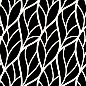 Abstract leaves black off-white