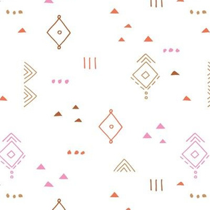 Messy tribal minimal mudcloth boho triangles and aztec details marroccan rug inspired design neutral nursery pink caramel orange girls on white
