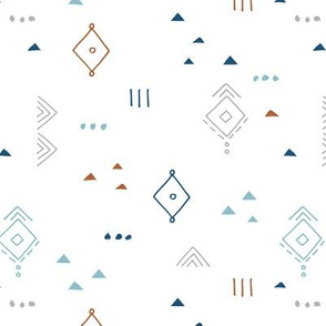 Messy tribal minimal mudcloth boho triangles and aztec details marroccan rug inspired design neutral nursery blue gray on white boys