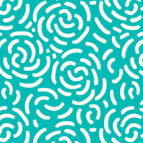 Abstract roses off-white teal